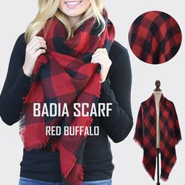 Wholesale Hooded Cape Warm - Winter women hot chic knit red buffalo plaid blanket scarf oversize warm acrylic check red and black blanket cape shawl
