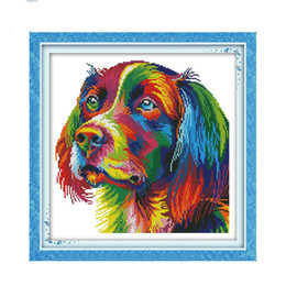 rainbow painting Coupons - The Rainbow dog Stamped Cross stitch kits DMC Needlework Embroidery Cross-Stitch set DIY Handwork Fabric 14CT and 11CT