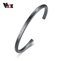 Открытый кабель онлайн-Vnox Men Vintage Silver Color Open Cuff Bangle Stainless Steel Mens Wire Cable Bangle Bracelets for Boys Male Jewelry