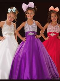 Bright Royal Blue Purple Halter Beads Vestidos de niña de las flores Vestidos de desfile de niñas Vacaciones / Vestido de cumpleaños / Falda Tallas especiales 2-14 DF708310 desde fabricantes