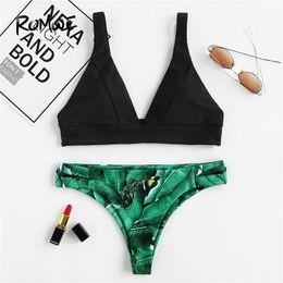 9b88c51dbc7a8 wholesale Sport Palm Print High Leg Bikini Set 2018 Summer Beach Sexy Swimwear  Women Tropical Push Up Swimsuit With Chest Pad