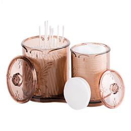 Wholesale round acrylic brush - Acrylic Cotton Ball Swab Holder Organizer Storage Box Cosmetic brush Holder Round Container Cotton Pad Container Case