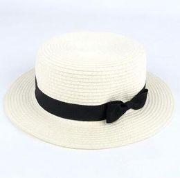 Wholesale elegant men hat - Elegant Shape Women Man Summer Beach Sun hats Flat Top Straw Hat Men Boater Hats Flat Bowler Hat 12 Color Free Ship