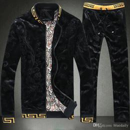 Fato de jogging para homens on-line-Alta Qualidade Dos Homens Moletons Sweat Suit Design de marca Roupas Fatos de Treino de Esportes Homens Conjuntos de Sportswear Jogging Ternos