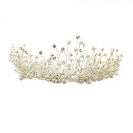 Perlen reben online-Luxuriöse 2018 Krone für Hochzeit Bead und Strass Clusters üppige Haar Rebe handgemachte Braut Kopfschmuck Tiaras Bridal Zubehör