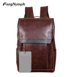 Wholesale boy tablet - FangNymph Simple Fashion MenTravel Backpack PU Leather Shoulder Pack Large Capacity Man Boy Tablet Book Pockets