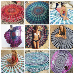 Wholesale Wholesale Yoga Mats - Indian Mandala Beach Towel Round Beach Blanket Chiffon Elephant Printing Tapestry Yoga Mat Summer Picnic Rug 39 Designs YW388