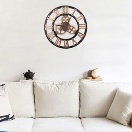 Шестерня онлайн-40cm 3D Round Wall Clock Gear Analog Roman Numeral Home Living Room Office Cafe Decor