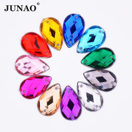 JUNAO 8 13mm Sew On Mix Color Crystal Drop Rhinestones Appliques Flatback  Acrylic Stones Clear AB Crystals For Dress Needlework 6ff20847fe5a