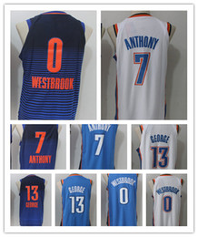 Wholesale elite 13 - 2018 Men's Elite Shirt 0# Russell Westbrook 13 Paul George Basketball Jersey 7#Carmelo Anthony Jerseys Embroidery Blue White Free Shipping