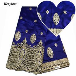 Vestido de boda de seda bordado online-KERYLACE Royal Blue Nigerian Lace Lentejuelas Tejido Estilo Bordado Nueva Seda George Lace Wedding Dresses African George Tela Mujeres KRL-9150