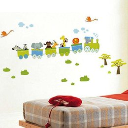 Nuovo Adesivo rimovibile Animali Adesivi murali stile Roller Per bambini della scuola materna Bambini Decorazioni per la stanza del bambino Decalcomanie in vinile da