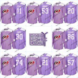 e698ccfc5 Womens 11 Staal Purple Fights Cancer Practice Carolina Hurricanes 53 Jeff  Skinner 20 Sebastian Aho 30 Cam Ward Ice Hockey Jerseys
