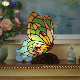 Wholesale Painted Glass Art - FUMAT Butterfly Table Lamp Creative Art Glass Desk Lamp Vintage Living Room Bedroom Bedside Night Light Decor Light Fixtures