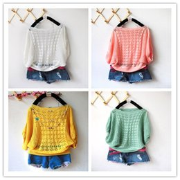 d843e097c6c Plus Size Womens Sweater and pullovers summer sweet candy women loose Crochet  knitted Sweater batwing hollow pullovers tops Lady