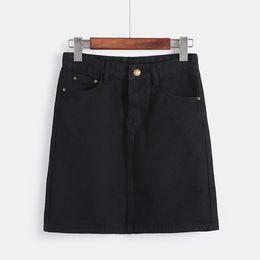 Девушка джинсы высокая талия онлайн-Korean Fashion Spring Denim Skirts For Women Large Size High Waist Mini Saia Girls Black White Jeans Skirt Summer Falda Hot Sale