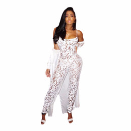 see through lace jumpsuits Promo Codes - Sexy Lace Jumpsuit Women White Sleeveless Spaghetti Strap Long Rompers Summer Back Zipper Hollow See Through Party Catsuit M744