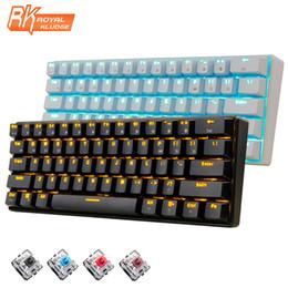 Wholesale Led Backlit Computer - New 61 Keys RK61 Bluetooth Wireless White LED Backlit Ergonomic Mechanical Gaming Keyboard Gamer illuminated For Laptop Computer