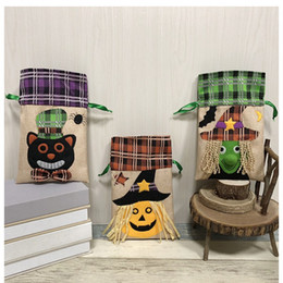 recycled decor Promo Codes - 3 styles Halloween Drawstring Candy Bag Witch Pumpkin Black Cat Gifts Pack Tote Party Decor kids toy gift