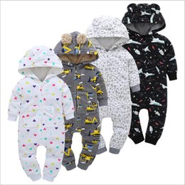 Wholesale White Baby Bodysuits Wholesale - Baby Clothing Toddler Fleece Rompers Newborn Winter Onesies Hooded Rompers Cartoon Jumpsuits Kids Cotton Bodysuits Hot Fashion Overalls 3566