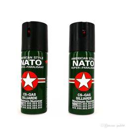 Wholesale Tear Spray - NATO Self Defense Device 60ML 110ML Pepper Spray Personal Security CS tear gas