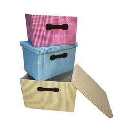 Wholesale Color Office Paper - 3 Color Paper storage box Creative Storage Supplies Style Pastoral Floral Desktop Storages Box Officer Storage Box