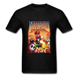 Wholesale Gray Mario - Mario T Shirt Man Mario's Doom Cool Tshirt Designs Round Neck Cotton Tees Shirts