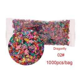 Decorazione della piuma del nastro online-1000pcs / Bag 3D Tiny Cute Nails Accessori di arte Stella / Nastro / Fiore / Frutta / Fimo Fette fette Affettare Decorazioni per unghie # 280483