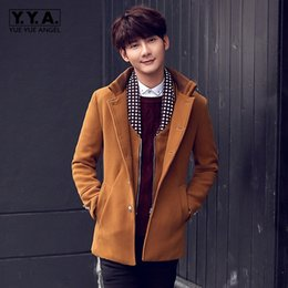 Wholesale High Collar Trench Coat - 2017 High Quality Autumn Stand Collar Wool Coat Warm Woolen Mens Jacket Casual Slim Fit Trench Large Size 4XL Homme Overcoats