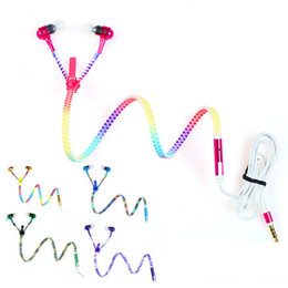 Wholesale Couples Iphone - 2018 Wired 3.5mm colorful Lover Couple Mobile In-Ear Zipper Headset Earphone for iphone For samsung cell phones Promotion Wholesale