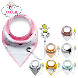 Wholesale Bamboo Bibs - XCQGH 2017 Baberos Bebes Baby Bibs Easy to Carry Nipple with Rope Cartoon Infant Cotton Bandana Dribble Bib For Newborn Feeding