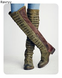 low heel long boots Coupons - Cool Retro Army Green Woman Long Boots Suede Lather Patch Work Low Heel Knee-high Boot Autumn Winter Fashion Female Shoes