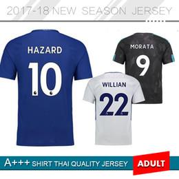 Wholesale Mens Soccer Shirts - Cheap discount 17 18 Home Blue 3 MARCOS A. Soccer Jerseys 10 Hazard Sleeve Jerseys,mens 11 Pedro 9 Morata Football uniforms Shirt