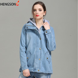 8bc21bd42d9 Two-Pieces Denim Jacket For Women Jacket + Hooded Suits Female Spring 2018 Jeans  Jackets Clothing Long Sleeve Coat Plus Size
