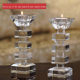 Wholesale Crystal Votive Holders Wholesale - Elegant Clear Crystal Candle Stand Candlestick Holder Glass Tealight Holder for Stick and Tealight Dinner Decor DEC176