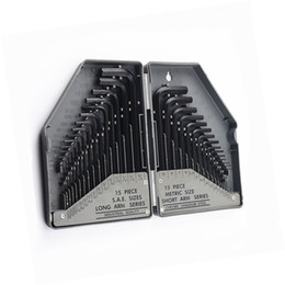 Wholesale allen head - free shipping 30pcs industrial grade metric inch allen hex key wrench set L type black allen key spanner flat or ball head