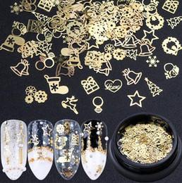 2019 anelli oro design misto Accessori per la decorazione di unghie di Natale. Scatola di paillettes oro 3D anelli oro design misto economici