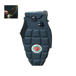 Wholesale Inflatable Cigarette Lighter - Windproof lighters inflatable grenade torch re-use cigar knife 2 in 1 lighters