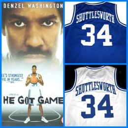 Wholesale Hot Blue Movies - 2017 Hot Sale Movie Jesus Shuttlesworth Lincoln High School #34 Ray Allen Jersey Film He Got Game Movie Basketball Jersey Blue Stitched