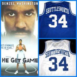 Wholesale Games High School - 2017 Hot Sale Movie Jesus Shuttlesworth Lincoln High School #34 Ray Allen Jersey Film He Got Game Movie Basketball Jersey Blue Stitched