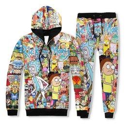 Wholesale Womens Suits Pants - Mens Womens Unisex 3D Print Hoodies Classic Cartoon Rick and Morty Graphic Sweatshirt & Jogger Pants Pullover Jacket Suit Tracksuit Top