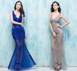 Wholesale Slim Look Dress - Nightclub Sexy Look 2018 Sexy Black Piano Blue Prom Dresses Long Section Slim Fish Tail Deep V Club Sexy Women Spring And Summer
