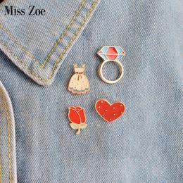 Wholesale Zoe Dresses - Miss Zoe 4pcs set Cartoon Rose Flower Dress Ringshaped Heart Brooch Button Pins Denim Jacket Pin Badge for Bag Hat Jewelry Gift