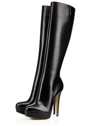 scarponi aperti a ginocchio Sconti Classica donna inverno piattaforma nera punta tonda stivali lunghi tacco alto stivali al ginocchio tacco sottile moda donna neve