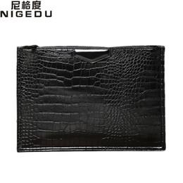 Wholesale Leather Envelopes For Men - Fashion crocodile men envelope clutch bag Quality PU leather Shoulder bag for Women's Clutches file Handbags bolsa feminina