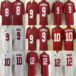 Wholesale Gold Cooper - Mens Alabama Crimson Tide 8 J.Jones 9 Bo Scarbrough 9 Cooper 10 McCarron 12 Namath Red White Cheap Stitched College Football Jerseys
