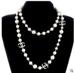 Wholesale Pearls Pendant - Korean Long Sweater Chain Colar Maxi Necklace Simulated Pearl Flowers Necklace Women Fashion Jewelry bijoux femme P