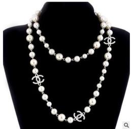 Wholesale Pendant Flowers - Korean Long Sweater Chain Colar Maxi Necklace Simulated Pearl Flowers Necklace Women Fashion Jewelry bijoux femme P