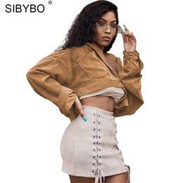 Wholesale Crop Jacket Sexy - Sibybo New Corduroy Short Jacket Autumn Winter 2017 Khaki Turn Down Collar Coat Fashion Women Tops Sexy Crop Top Thick Outwear