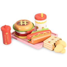 Wholesale Wooden Kitchen Play Set - Baby Toys Strawberry Hamburger Shop Play Food Wooden Toys Hamburger Set Hot Dog Set Kids Kitchen Toys Birthday Gift